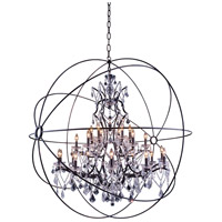 Elegant Lighting Geneva 25 Light Pendant in Dark Bronze with Royal Cut Clear Crystal 1130G60DB/RC