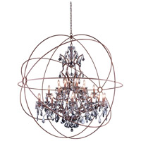 Elegant Lighting Geneva 25 Light Pendant in Rustic Intent with Royal Cut Silver Shade Crystal 1130G60RI-SS/RC