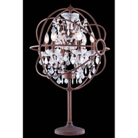 Elegant Lighting Urban 6 Light Table Lamp in Red Rusted Painted with Royal Cut Clear Crystal 1130TL21RI/RC