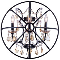 Urban Classic by Elegant Lighting Geneva 3 Light Wall Sconce in Dark Bronze with Royal Cut Golden Teak Crystal 1130W21DB-GT/RC
