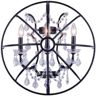 Elegant Lighting 1130W21DB/RC Geneva 3 Light 21 inch Dark Bronze Wall Sconce Wall Light in Clear Urban Classic