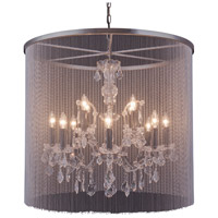 Urban Classic by Elegant Lighting Brooklyn 12 Light Pendant in Mocha Brown with Royal Cut Clear Crystal 1131D31MB/RC
