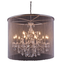 Urban Classic by Elegant Lighting Brooklyn 15 Light Pendant in Mocha Brown with Royal Cut Clear Crystal 1131D36MB/RC
