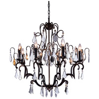 Urban Classic by Elegant Lighting Charlotte 8 Light Pendant in Antique Bronze with Royal Cut Clear Crystal 1132D32AB/RC