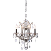 Elegant Lighting 1138D13PN/RC Elena 4 Light 13 inch Polished Nickel Chandelier Ceiling Light in Clear, Urban Classic