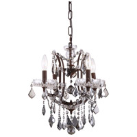 Urban Classic by Elegant Lighting Elena 4 Light Chandelier in Rustic Intent with Royal Cut Silver Shade Crystal 1138D13RI-SS/RC