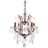 Elegant Lighting 1138D13RI/RC Elena 4 Light 13 inch Rustic Intent Chandelier Ceiling Light in Clear Urban Classic