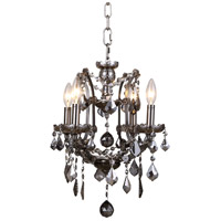 Elena 4 Light 13 inch Raw Steel Chandelier Ceiling Light in Silver Shade, Urban Classic