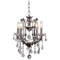 Elegant Lighting 1138D13RS/RC Elena 4 Light 13 inch Raw Steel Chandelier Ceiling Light in Clear, Urban Classic