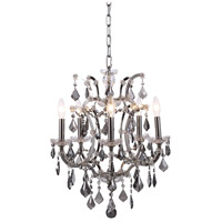 Elegant Lighting 1138D18PN-SS/RC Elena 5 Light 18 inch Polished Nickel Chandelier Ceiling Light in Silver Shade, Urban Classic