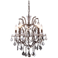 Elegant Lighting 1138D18RI-SS/RC Elena 5 Light 18 inch Rustic Intent Chandelier Ceiling Light in Silver Shade, Urban Classic