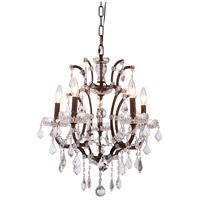 Urban Classic by Elegant Lighting Elena 5 Light Chandelier in Rustic Intent with Royal Cut Clear Crystal 1138D18RI/RC