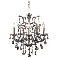 Elegant Lighting 1138D18RS-SS/RC Elena 5 Light 18 inch Raw Steel Chandelier Ceiling Light in Silver Shade, Urban Classic