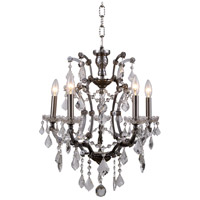 Elegant Lighting 1138D18RS/RC Elena 5 Light 18 inch Raw Steel Chandelier Ceiling Light in Clear, Urban Classic