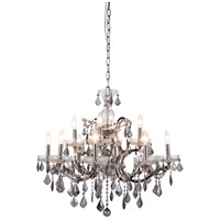 Elegant Lighting 1138D26PN-SS/RC Elena 12 Light 26 inch Polished Nickel Chandelier Ceiling Light in Silver Shade, Urban Classic