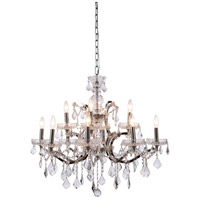 Elegant Lighting 1138D26PN/RC Elena 12 Light 26 inch Polished Nickel Chandelier Ceiling Light in Clear, Urban Classic