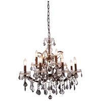Elegant Lighting 1138D26RI-SS/RC Elena 12 Light 26 inch Rustic Intent Chandelier Ceiling Light in Silver Shade, Urban Classic