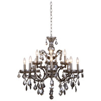 Elena 12 Light 26 inch Raw Steel Chandelier Ceiling Light in Silver Shade