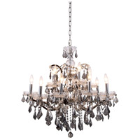 Elegant Lighting 1138D30PN-SS/RC Elena 15 Light 30 inch Polished Nickel Chandelier Ceiling Light in Silver Shade, Urban Classic