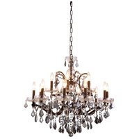 Elegant Lighting 1138D30RI-SS/RC Elena 15 Light 30 inch Rustic Intent Chandelier Ceiling Light in Silver Shade, Urban Classic