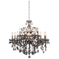 Elena 15 Light 30 inch Raw Steel Chandelier Ceiling Light in Silver Shade