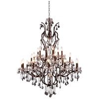 Urban Classic by Elegant Lighting Elena 25 Light Chandelier in Rustic Intent with Royal Cut Silver Shade Crystal 1138G41RI-SS/RC