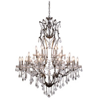 Urban Classic by Elegant Lighting Elena 25 Light Chandelier in Raw Steel with Royal Cut Clear Crystal 1138G41RS/RC