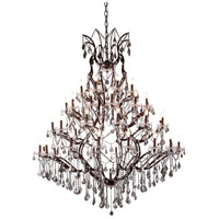 Elegant Lighting 1138G60RI-SS/RC Elena 49 Light 60 inch Rustic Intent Chandelier Ceiling Light in Silver Shade, Urban Classic
