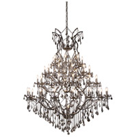 Elena 49 Light 60 inch Raw Steel Chandelier Ceiling Light in Silver Shade, Urban Classic