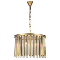 Elegant Lighting 1140D26BB Maxwell 6 Light 26 inch Burnished Brass Chandelier Ceiling Light, Urban Classic