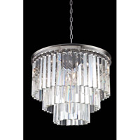 Elegant Lighting 1201D20PN/RC Sydney 9 Light 20 inch Polished Nickel Pendant Ceiling Light in Clear, Urban Classic