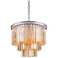 Elegant Lighting 1201D20PN-GT/RC Sydney 9 Light 20 inch Polished Nickel Pendant Ceiling Light in Golden Teak, Urban Classic