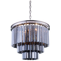 Elegant Lighting 1201D20PN-SS/RC Sydney 9 Light 20 inch Polished Nickel Pendant Ceiling Light in Silver Shade, Urban Classic