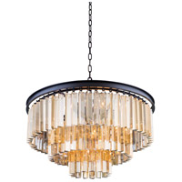 Elegant Lighting 1201D26MB-GT/RC Sydney 9 Light 26 inch Matte Black Pendant Ceiling Light in Golden Teak, Urban Classic