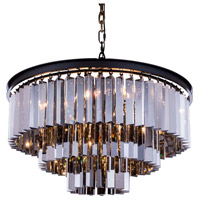 Elegant Lighting 1201D26MB-SS/RC Sydney 9 Light 26 inch Matte Black Pendant Ceiling Light in Silver Shade, Urban Classic