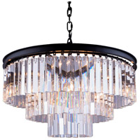 Elegant Lighting 1201D26MB/RC Sydney 9 Light 26 inch Matte Black Pendant Ceiling Light in Clear, Urban Classic