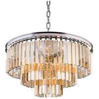 Elegant Lighting 1201D26PN-GT/RC Sydney 9 Light 26 inch Polished Nickel Pendant Ceiling Light in Golden Teak, Urban Classic