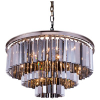 Elegant Lighting 1201D26PN-SS/RC Sydney 9 Light 26 inch Polished Nickel Pendant Ceiling Light in Silver Shade, Urban Classic