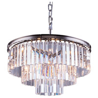 Elegant Lighting 1201D26PN/RC Sydney 9 Light 26 inch Polished Nickel Pendant Ceiling Light in Clear, Urban Classic