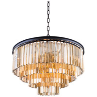 Sydney 17 Light 32 inch Matte Black Pendant Ceiling Light in Golden Teak, Urban Classic