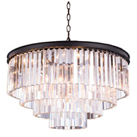Elegant Lighting 1201D32MB/RC Sydney 8 Light 32 inch Matte Black Pendant Ceiling Light in Clear, Urban Classic
