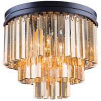 Urban Classic by Elegant Lighting Sydney 9 Light Flush Mount in Mocha Brown with Royal Cut Golden Teak Crystal 1201F20MB-GT/RC