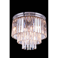 Urban Classic by Elegant Lighting Sydney 9 Light Flush Mount in Polished Nickel with Royal Cut Clear Crystal 1201F20PN/RC