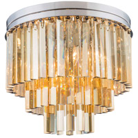 Urban Classic by Elegant Lighting Sydney 9 Light Flush Mount in Polished Nickel with Royal Cut Golden Teak Crystal 1201F20PN-GT/RC