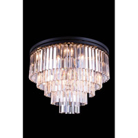 Elegant Lighting 1201F32MB/RC Sydney 17 Light 32 inch Matte Black Flush Mount Ceiling Light in Clear, Urban Classic