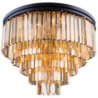 Elegant Lighting 1201F32MB-GT/RC Sydney 17 Light 32 inch Matte Black Flush Mount Ceiling Light in Golden Teak, Urban Classic