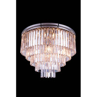 Elegant Lighting 1201F32PN/RC Sydney 17 Light 32 inch Polished Nickel Flush Mount Ceiling Light in Clear, Urban Classic