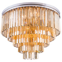 Elegant Lighting 1201F32PN-GT/RC Sydney 17 Light 32 inch Polished Nickel Flush Mount Ceiling Light in Golden Teak, Urban Classic