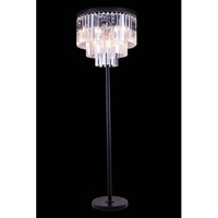 Elegant Lighting 1201FL20MB/RC Sydney 63 inch 60 watt Matte Black Floor Lamp Portable Light in Clear, Urban Classic