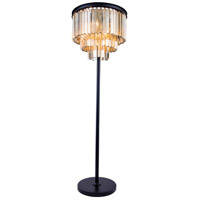Elegant Lighting Sydney 8 Light Floor Lamp in Mocha Brown with Royal Cut Golden Teak Crystal 1201FL20MB-GT/RC
